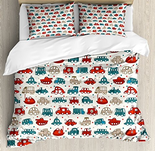 Cars Duvet Cover Set King Size by Ambesonne, Cheerful Baby Boy Play Things in Kids Doodle Style with Many Different Vehicles, Decorative 3 Piece Bedding Set with 2 Pillow Shams, Teal Scarlet Tan by Ambesonne