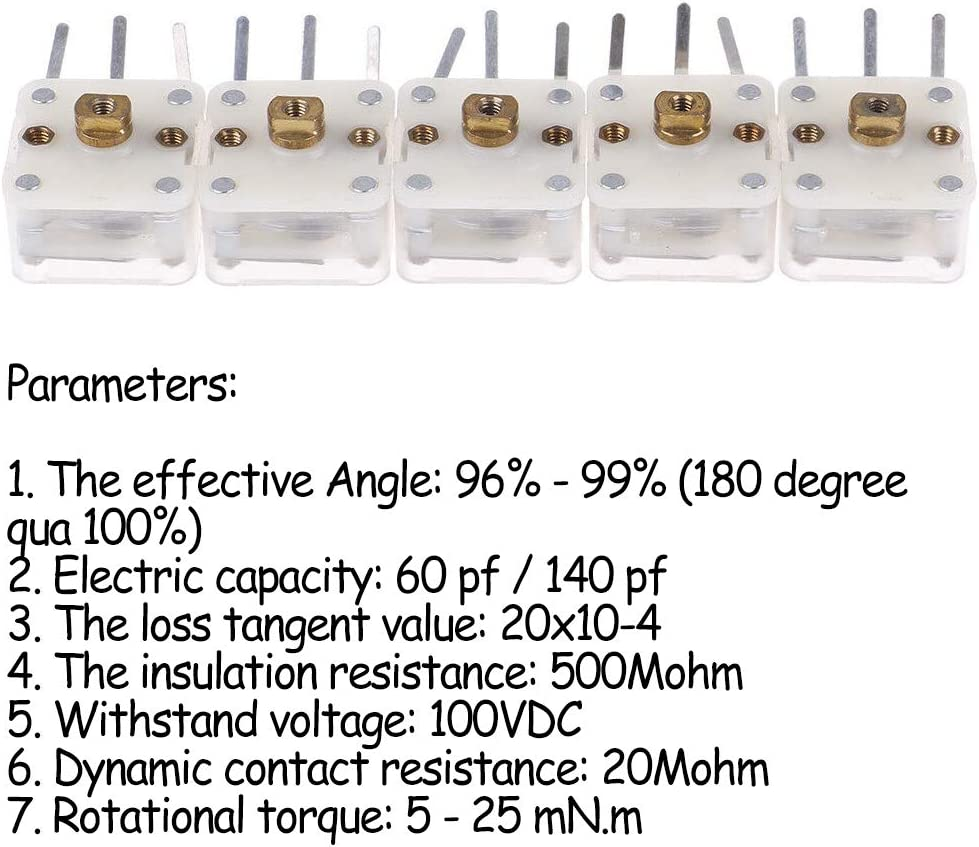 Acxico 5Pcs 223p Duplex Radio Variable Capacitor 60pf//140pf 2.1mm Hole Shaft for Pocket Radio Accessories