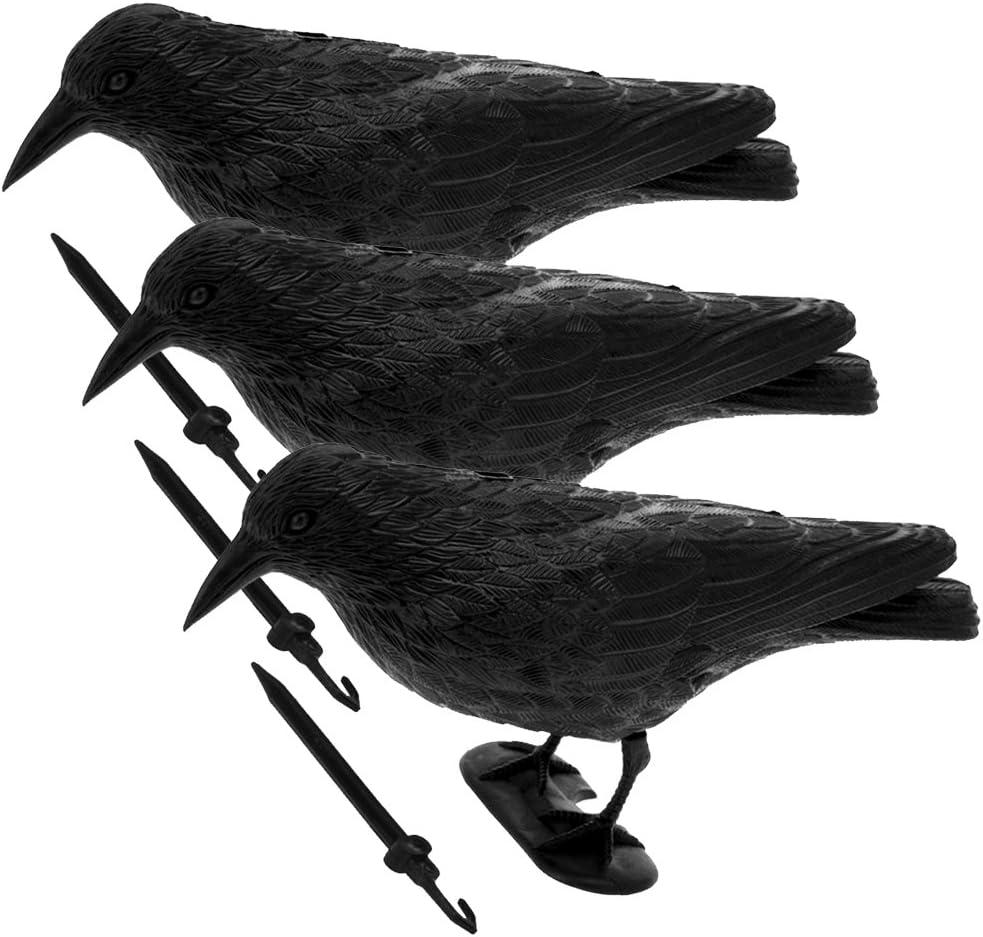 1x Raven Krähe Lockvogel Taubenabwehr Hartplastik Vogelscheuche