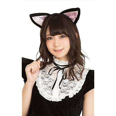 猫耳カチューシャ 立ち耳 コスプレ小物 黒×ピンク