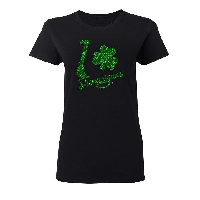 dfd825b6ac27 Irish Glitter Shenanigans St. Patrick's Day Lucky Charm Shamrock T-Shirt  Women Black/