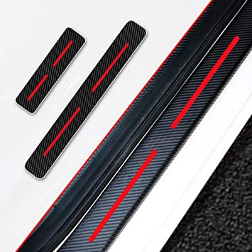 for Dodge Hellcat Door Sill Protector Carbon Fiber Sticker Door Entry Guard Door Sill Scuff Plate Stickers Auto Accessories 4pcs