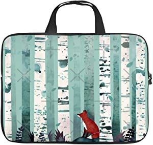 Neoprene Sleeve Laptop Handbag Case Cover Watercolor Red Fox and Forest Portable MacBook Laptop/Ultrabooks Case Bag Cover 13-13.3 Inch