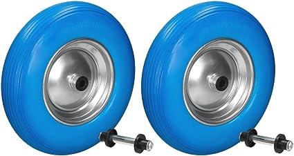 2x Ruota ricambio carriola  pneumatico carello piena 200 kg PU asse di ricambio