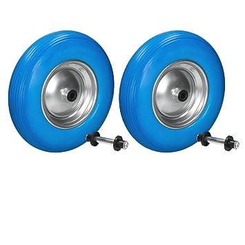 ECD Germany 2x Rueda para carretilla con llanta de acero PU 4.80/4.00-8 390mm Rueda de Repuesto de goma maciza Azul: Amazon.es: Bricolaje y herramientas