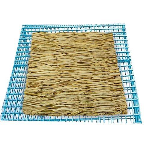 ULIGOTA Natural Woven Hay Mat for Rabbit Hamster Chinchilla Cage Bedding, Chew Toy for Guinea Pig Chinchilla Hamster - 3 Pack by ULIGOTA (Image #4)