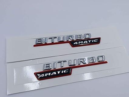 2pcs RED BITURBO 4 MATIC Number Letters Trunk Emblem Badge Sticker for Benz AMG