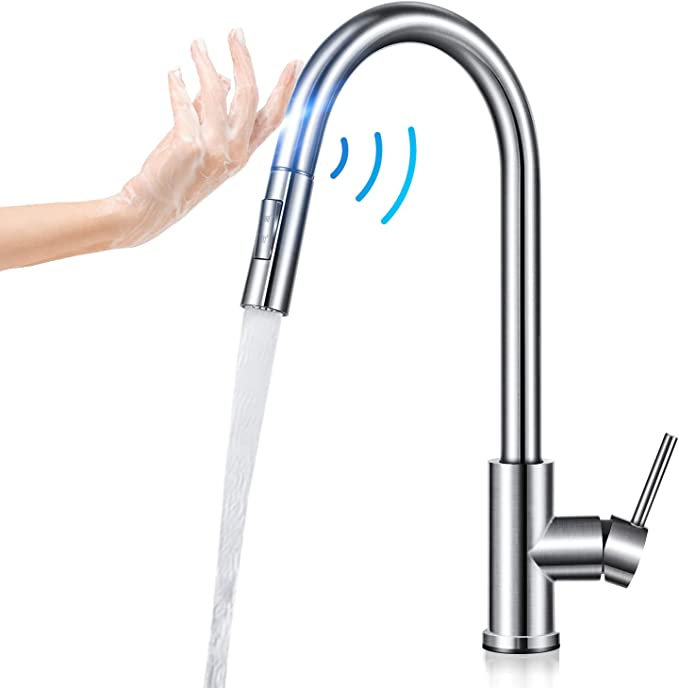 Smart Kitchen Sink Faucets with Pull down Sprayer Stainless Steel Touch Sensor D
