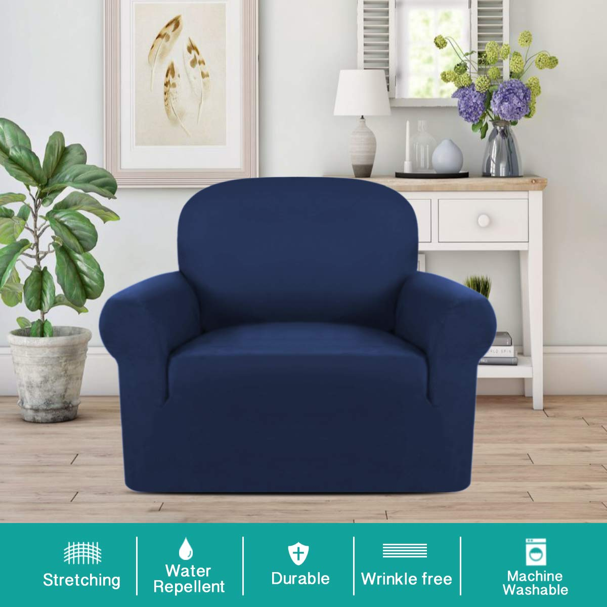 One Seater Chair Slipcover Water Repellent Covers for Living Room Chair Cover Strapless(Chair, Navy)