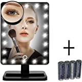 [Upgraded Version] Lighted Makeup Mirror, FLYMEI Vanity Mirror with Touch Screen & 20 LED Lights, Table Countertop Cosmetic Mirror with Removable 10x Magnifying Mirrors, Include AA Batteries, Black