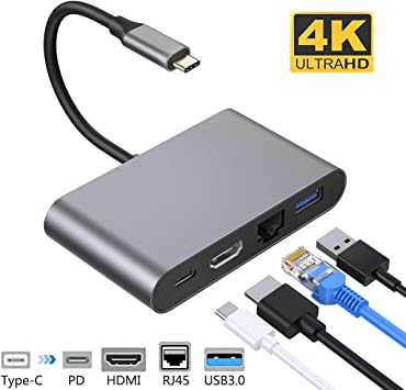 Type C USB 3.1 to USB-C 4K HDMI RJ45 Port USB 3.0 Adapter 4-in-1 Hub For Macbook