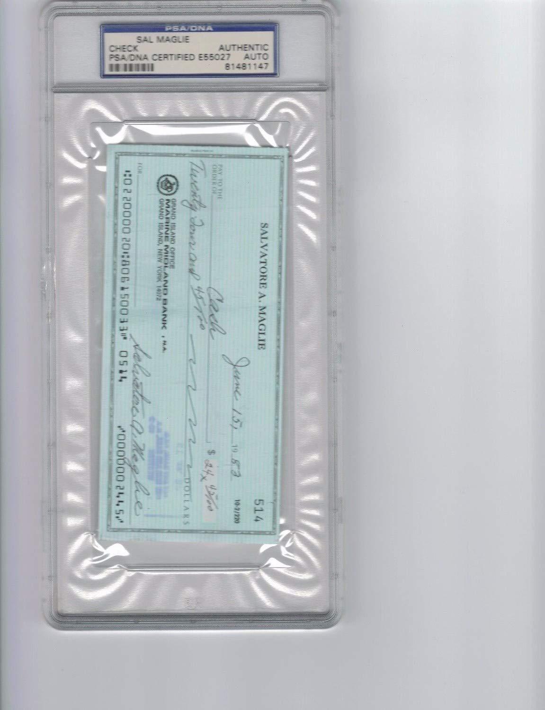 Sal Maglie Autographed Signed Check PSA/DNA Authentic Authenticated Autographed Signed
