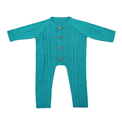 iumei Baby Girl Boy Warm Long Sleeve Button up Coveralls Sleep N Play Knitted Sweater
