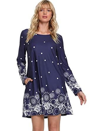 4589cd4d587 Romwe Women s Floral Print Long Sleeve Loose Casual Tunic Dress with Pocket  Navy XS