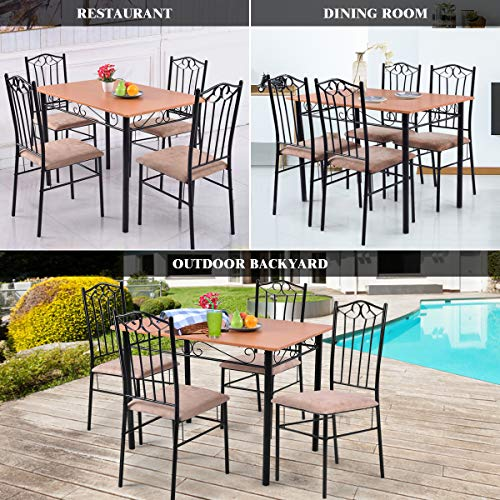 Tangkula 5 Piece Dining Table Set Vintage Wood Top Padded Seat Dining Table and Chairs Set Home Kitchen Dining Room Furniture by Tangkula (Image #2)