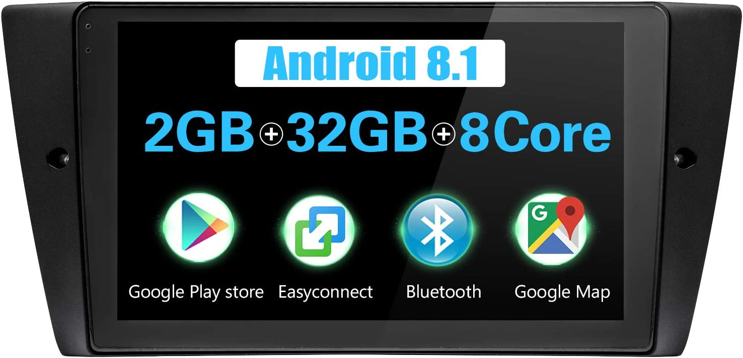 JOYFORWA Android Autoradio 9 inch Android 8.1 2GB+32GB Sat Nav with DSP//Easyconnect//Fast Boot//Steering Wheel Control for BMW 3 Series E46
