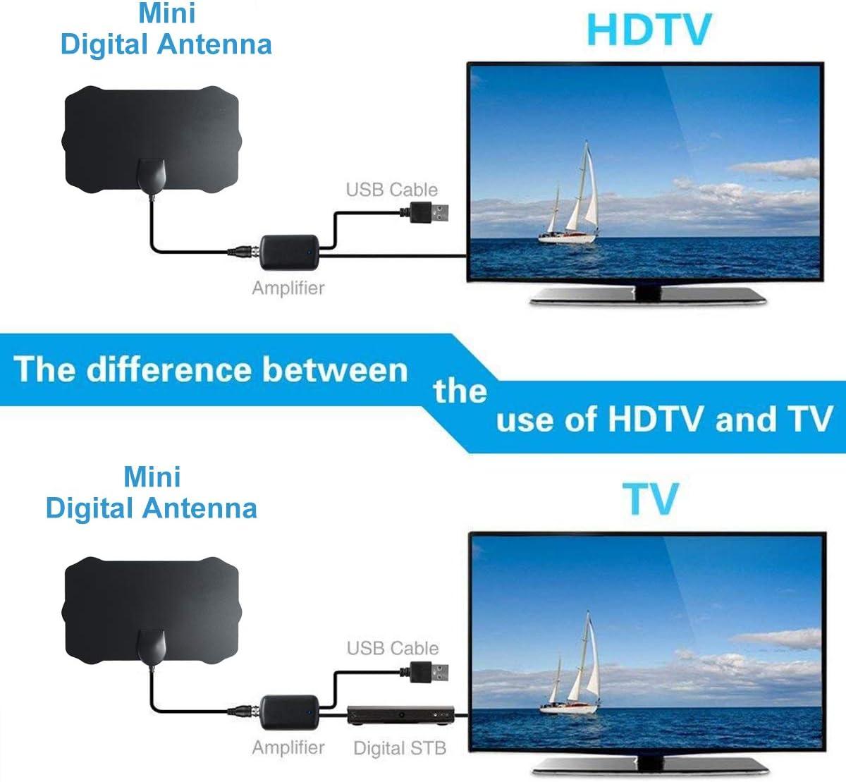 MASOMRUN Antena TV Interior- Bqeel Antena TV portátil HDTV Digital con Amplificador de señal Inteligente para Canales de TV 1080P 4K gratuitos para ...