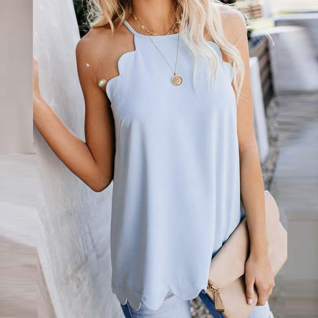 TWGONE Dressy Tank Tops For Women Camisole Plain Strappy Vest Flowy Sleeveless Casual Blouse (Medium,Blue) by TWGONE (Image #2)