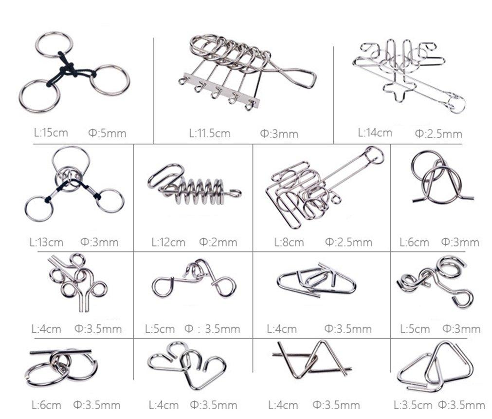 Gracelaza 30 Piezas Juguetes Mágicos de Alambre de Metal Set - 3D Rompecabezas Brain Teaser Puzzle - IQ Inteligencia Juguete Educativo - Juego Ideales y ...