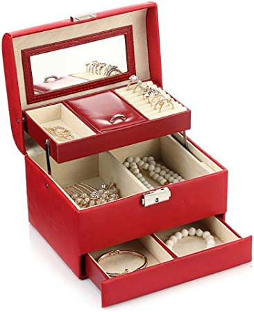 LUNAH Caja de Almacenamiento de Joyas Caja de joyería Espejo Organizador de Cuero de PU Mini