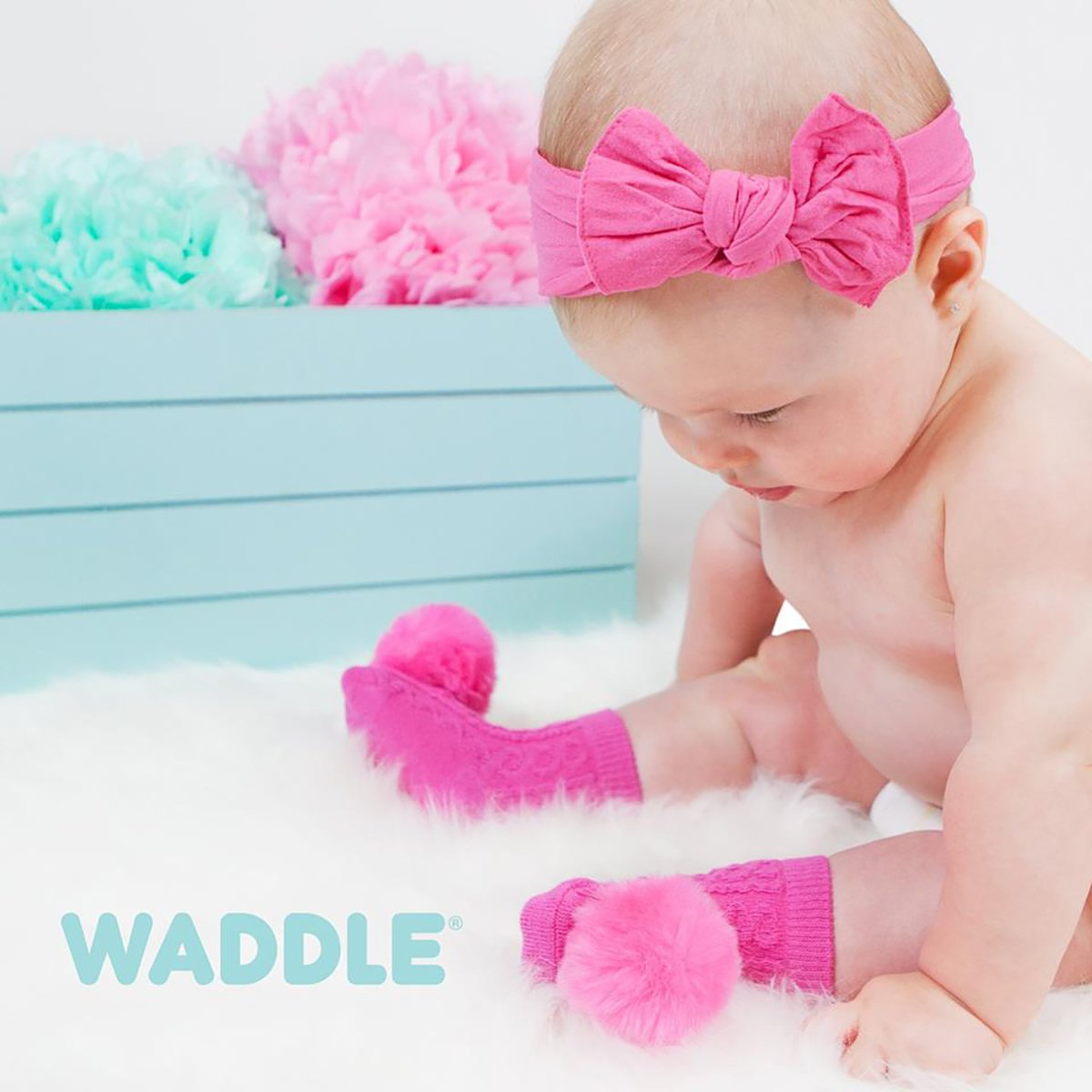 Waddle Cable Knit Pom Pom Baby Rattle Socks and Picture Frame Baby Shower Gift