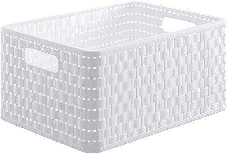 Rotho Country, Caja de almacenamiento de 18l en aspecto de ratán, Plástico PP sin BPA, blanco, A4, 18l 36.8 x 27.8 x 19.1 cm: Amazon.es: Hogar