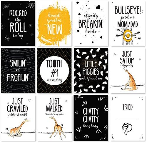 JumpOff Jo - Baby Milestone Cards - Monthly Photo Cards - 12 Cards, 24 Milestones - Original Design - to The Moon Series - Giraffe & a Calf
