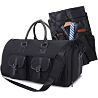Garment Travel Bag Suit Carrier Duffle Bag Foldable Flight Bag with Shoes Pouch for Men Women - 2 in 1 Garment Carry on Bags (Black)