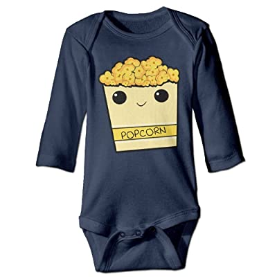 Yhwoq Cartoon Popcorn Baby's Unisex Long Sleeve Comfortable One Piece Navy
