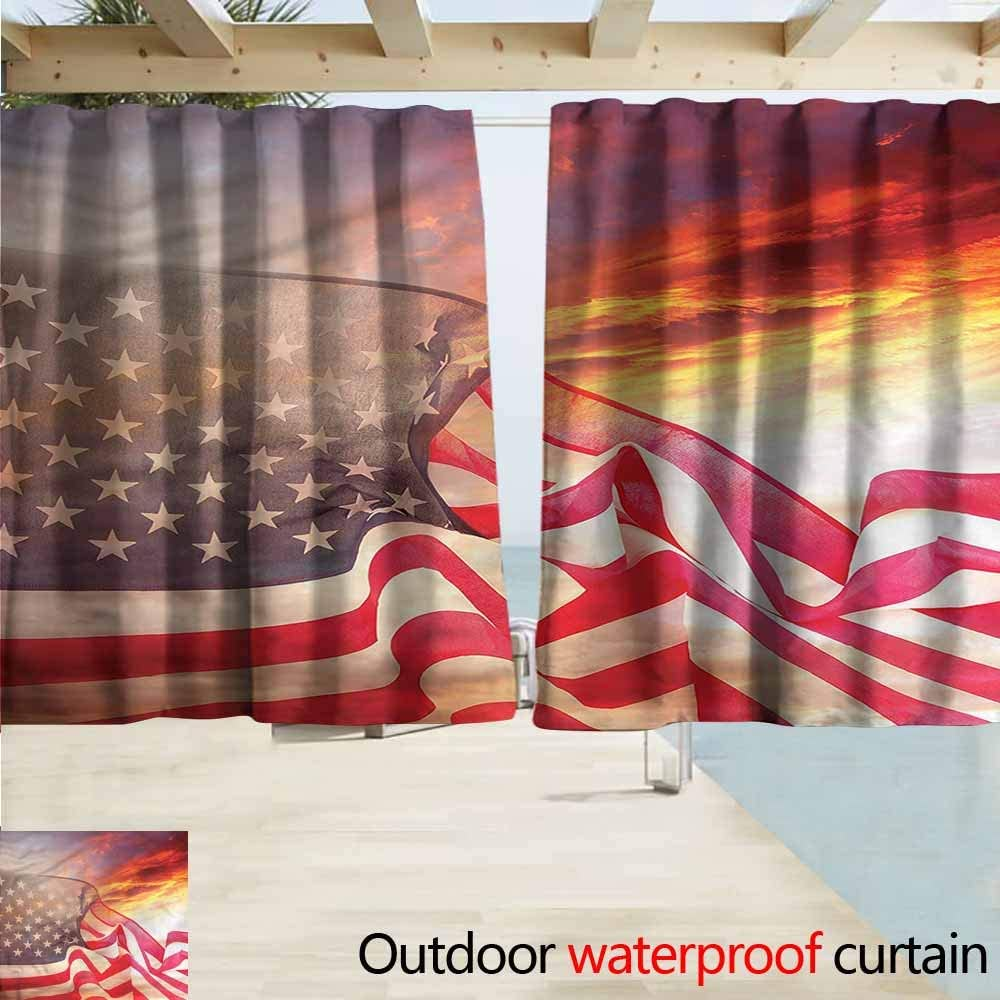 MaryMunger Rod Pocket Blackout Curtain Panels American Flag Banner in Sky Simple Stylish Waterproof W55x39L Inches