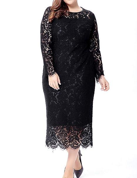SUNFURA Women\'s Plus Size Sheath Lace Dress Long Sleeves ...