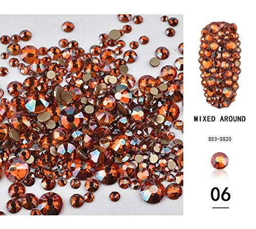 (Nail Art Accessories - SS3-SS20 Mixed Size Shiny AB Crystal Nail Rhinestones Champagne Amber Gold Non Glass Gem Stone Manicure - Nail Rhinestones And Charms Rhinestones For Nails - 06)