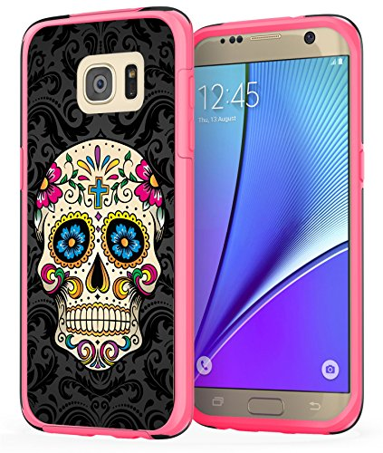 Price comparison product image Samsung Galaxy S7 Edge Skull Case, True Color Colorful Sugar Skull on Damask HD Printed Hybrid Cover Hard + Soft Slim Durable Protective Shockproof Rubber TPU Bumper - Hot Pink