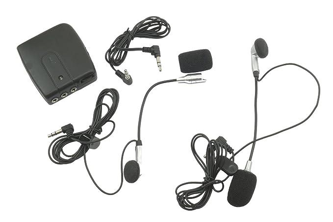 Interfono para 2 cascos casco moto micrófono auricular universal Casquillo MP3