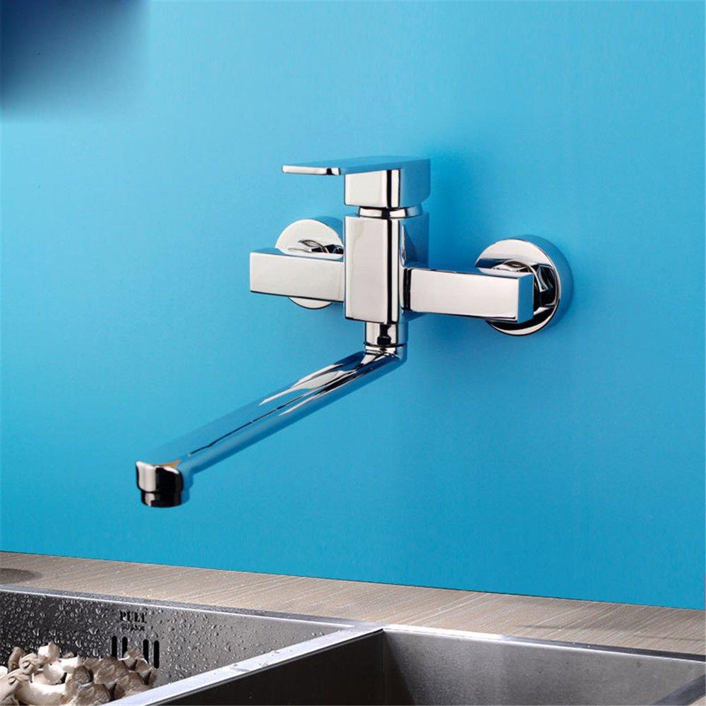 MMYNL Küchenarmatur Armatur Küche Wasserhahn in-Wall Style Chrom Kalt heiß Alle Kupfer Becken schwenkbarer Auslauf  Spültischarmatur