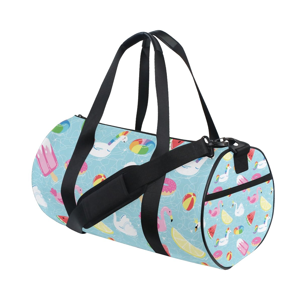 U LIFE Cute Summer Unicorn Swimming Watermelon Lemon Swan Sports Gym Shoulder Handy Duffel Bags for Women Men Kids Boys Girls