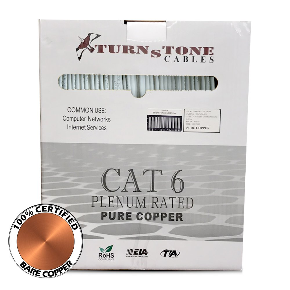 Turnstone Cables Cat6 Plenum Cable, 1000ft, Solid Bare Copper Bulk Ethernet Cable, 4 pair 550Mhz, UTP 23AWG (White)