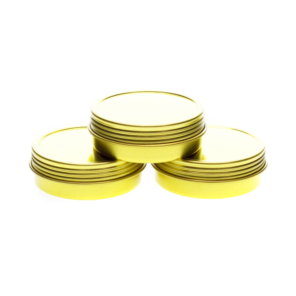Mimi Pack 1 oz Shallow Screw Top Lid Round Metal Tins For Favors, Spices, Balms, Gels, Candles, Gifts, Storage Tin Container 24 Pack (Gold)