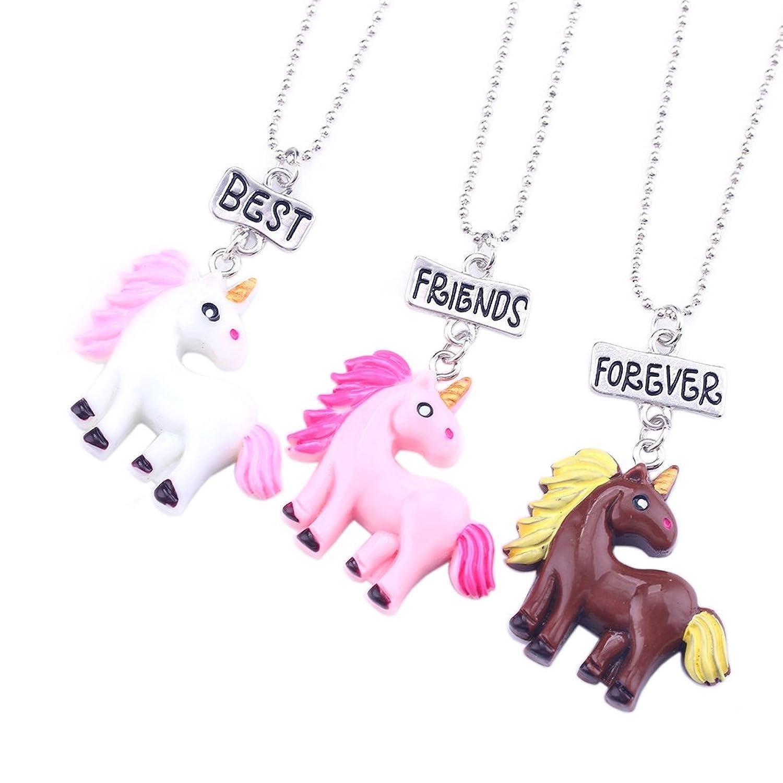 Best Friends Forever Collares para Niñas/Niños/Niños Rainbow Unicornio Colgante Plata BFF Collares Set de 3 Regalos de la Amistad