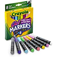 Crayola Gel Markers, 8 Washable Broad-line Markers, Perfect for School Projects, Bright Colours On Dark Paper!