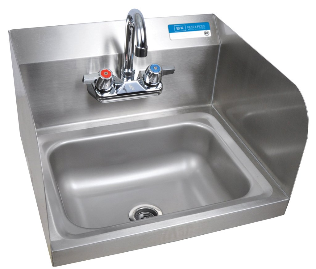 BK Resources BKHS-W-1410-SS-P-G Wall Mounted Stainless Steel Hand Sink with Faucet and Side Splashes, 14'' Wide x 10'' Front-to-Back Bowl