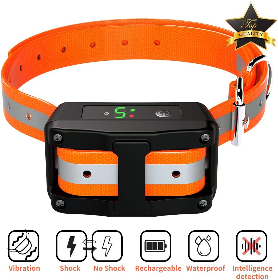 Dog Bark Collar – Rechargeable Anti Shock Barking Collar – Upgraded Smart Detection Module Stop Barking with Beep Vibration Shock 5 Sensitivity IPX67 Level Waterproof for Small Medium Large Dogs