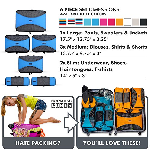 Pro Packing Cubes - 6 Piece Lightweight Travel Cube Set - Organizers and Compression Pouches System for Carry-on Luggage, Suitcase and Backpacking Accessories (Sky Blue) by Pro Packing Cubes (Image #7)