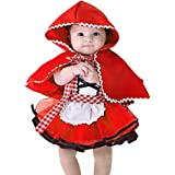 IBTOM CASTLE Disfraz Caperucita Roja Traje del Vestido Niña Bebé Ropa Recien Nacido Vestido Infantil Disfraz de Princesa de Niñas para Fiesta Carnaval Cumpleaños Cosplay 3meses a 4 años