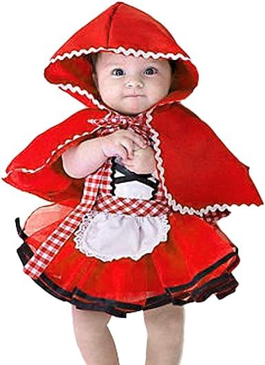 IBTOM CASTLE Disfraz Caperucita Roja Traje del Vestido Niña Bebé Ropa Recien Nacido Vestido Infantil Disfraz de Princesa de Niñas para Fiesta Carnaval Cumpleaños Cosplay 3meses a 4 años: Amazon.es: Ropa y