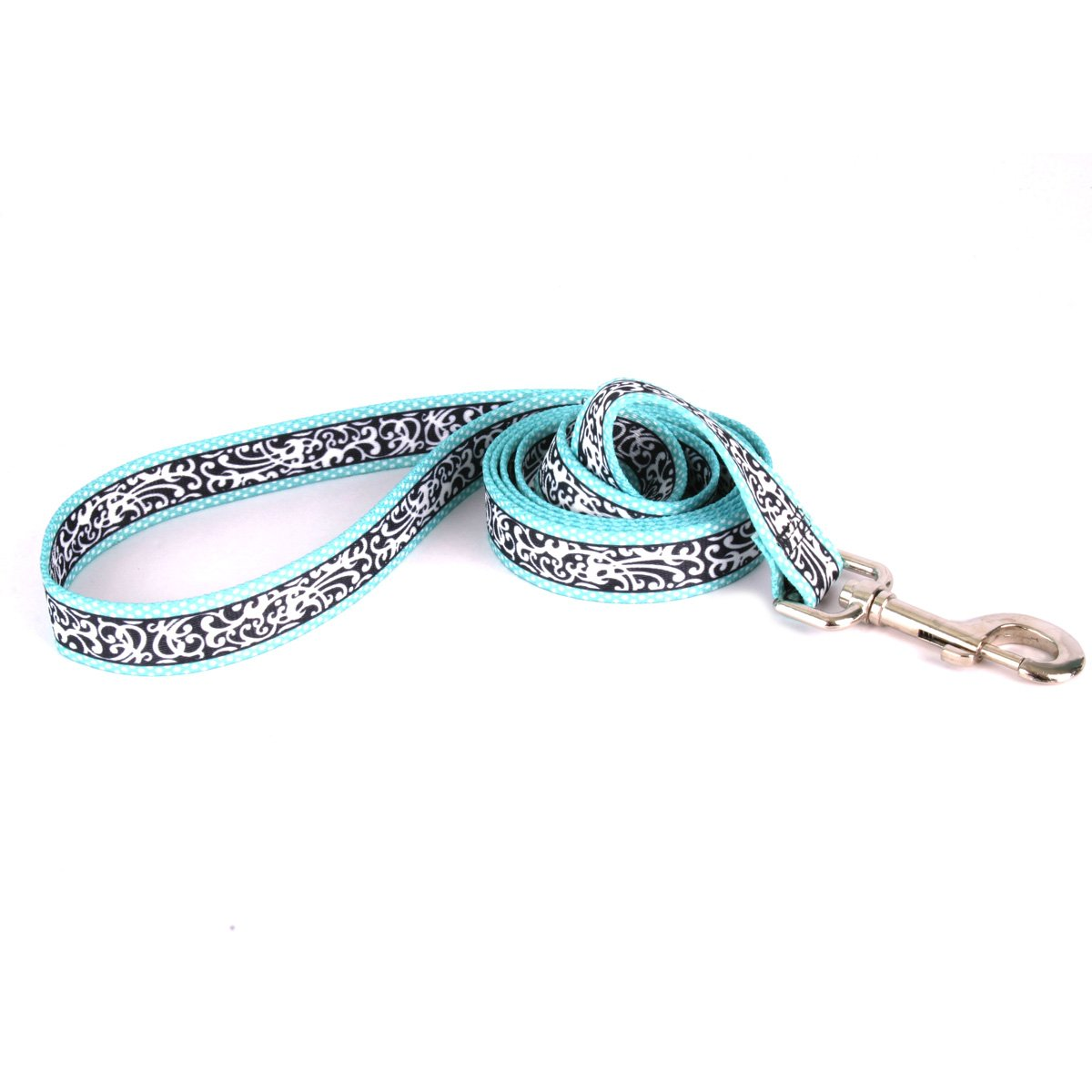 Yellow Dog Design Chantilly Teal Dog Leash 1'' Wide and 5' (60'') Long, Large by Yellow Dog Design