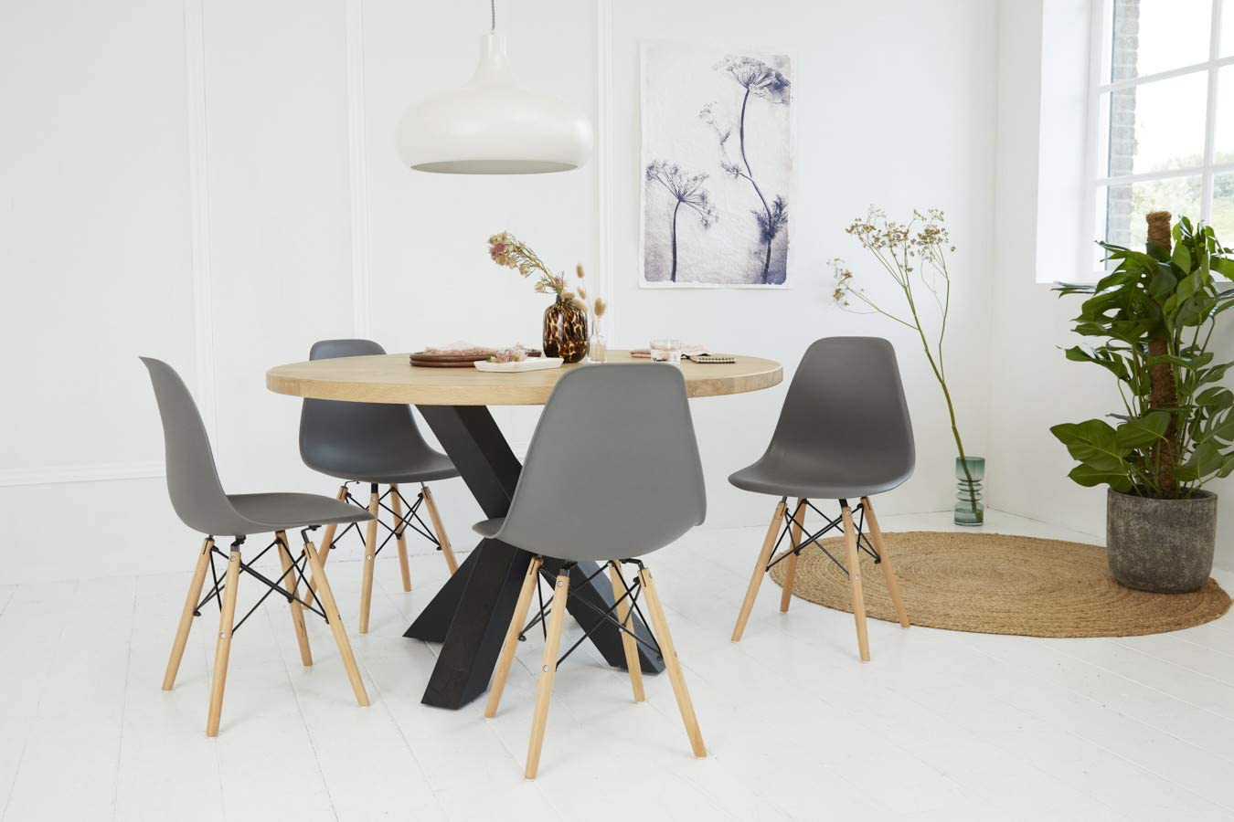 LIFA LIVING black modern dining chair set of 4, home office chair with back support, comfortable desk chair, wooden chairs, 82x46x47 cm, max 220 lb. Grey