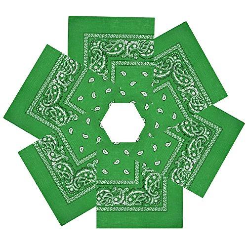 Alotpower Square Bandana Handkerchiefs Headbands Cowboy Bandanas for Unisex,6 Pack Grass Green ()