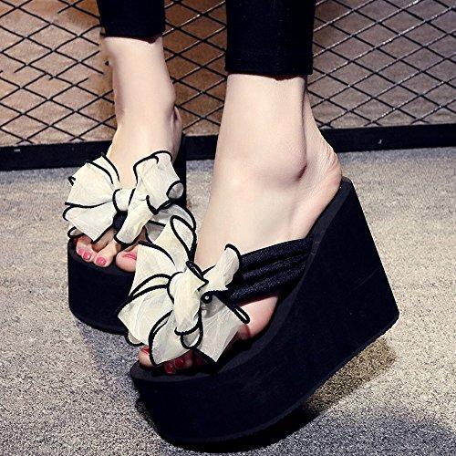 12cm Femelle antidérapante Chaussures de plage de sable épais Doux bow chaussures décontractées sandales 9 sortes de couleurs ( Couleur : #5 , taille : EU36/UK3.5/CN36 )