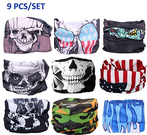 Kalily Oringinal Pack of 9pcs Headband Bandana Protective Multi-use Seamless Breathable Neck and Head Tube (Customs Halloween Make)